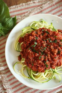 Zucchini Noodles with Simple Bolognese Sauce - Eat Yourself Skinny