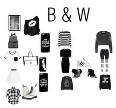 """""""B(lack) & W(hite)"""" by haileywilkins1 ❤ liked on Polyvore featuring adidas, WALL, Chanel, Casetify, Dr. Martens, Milly, Kat Maconie, Thierry Mugler, gx by Gwen Stefani and Zoe Karssen"""