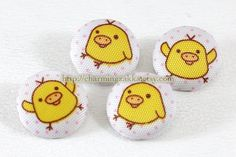 Fabric Covered Buttons (M) - Cute Rilakkuma's Chicken Friend (4Pcs, 0.87 Inch). $4.50, via Etsy.