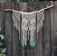Macramé Wall Hanging on Drift Wood Dip Dyed Mint by FreeCreatures