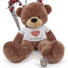 Nice 6ft Personalized Giant Teddy Bear In Personalized Red Heart Shirt