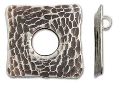 Hill Tribe Silver Large Hammered Antiqued Square Pendant