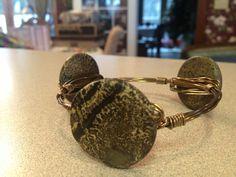 Red picture jasper antique brass wired bracelet!