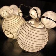 CHAIN BATTERY PAPER LANTERN - WHITE String of 10 paper lanterns crafted from paper.  Each lantern is accented with an LED.    Length - 2.4m of which 1.4m is illuminated  Power source - 3 x AA Batteries (not included)
