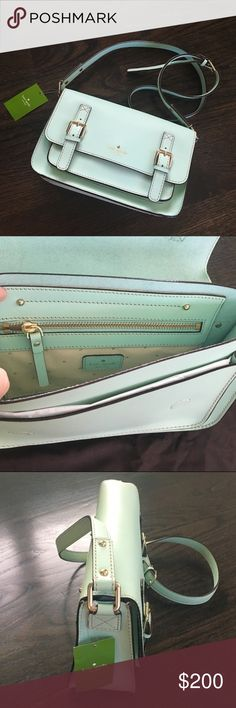 NWT Kate Spade Scout Essex Mint Green Crossbody Kate Spade Scout Essex Crossbody bag in Fadedmint leather(it's a light minty green color-very pretty!). 14K gold plated hardware. Flap closure with magnetic snap. Flat and zip pocket. Authentic and brand new! Comes with Kate Spade dust bag. Sorry, I do not Trade Kate Spade Bags Crossbody Bags