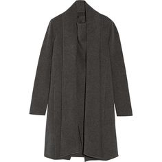 Donna Karan New York Draped cashmere coat (68 920 UAH) ❤ liked on Polyvore featuring outerwear, coats, cardigans, tops, grey, donna karan, cashmere coat, grey cocoon coat, donna karan coat and gray cocoon coat