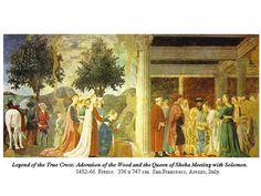 피에로 델라 프란체스카 [시바 여왕을 접견하는 솔로몬 왕]  많은 화가에게 원근법을 가르쳤던 르네상스 시대의 화가 피에로 델라 프란체스카의 작품으로 성경 속의 장면을 그리고 있다. 황금색 옷을 입은 솔로몬 왕과 시바 여왕 주변에 강한 인상을 주는 빨간색과 초록색 옷을 입은 시중들을 그려넣음으로 인해 솔로몬 왕과 시바 여왕을 차분하고 부드러워 보이도록, 또한 그림 전체에는 생동감이 있도록 표현했다. 르네상스 시대에 접어들어 중세에서 주로 그리던 성경의 장면을 주제로 하고 있는데 재미있는 것은 여기에 솔로몬 왕 옆 시중들 사이에 정면을 바라보고 있는 화가가 피에로 델라 프란체스카이다. 성경 속에 포함되고 싶어하는 신앙심의 발로일까 자신을 표현하고자 하는 르네상스 시대의 정신의 발로일까 재미있는 작품이다.
