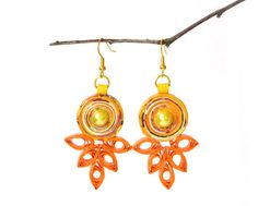 Quilled Yellow Orange Earrings Recycled Paper Eco-Friendly Lightweight First Anniversary Gift