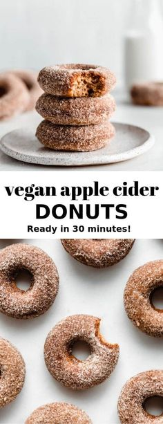 These vegan apple cider donuts are light and fluffy and coated in cinnamon sugar for a delicious baked donut recipe that you'll love for Fall! A heavenly apple cider donut that is baked rather than fried and comes together in 30 minutes! Vegan Doughnuts, Healthy Donuts, Delicious Donuts, Healthy Dessert Recipes, Gourmet Recipes, Donuts Donuts, Baked Donut Recipes, Baked Cider Donuts Recipe, Vegan Donut Recipe