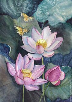 Купить Картина акварелью с лотосами Лотосы и бабочки - тёмно-зелёный, лотос, картина, акварель