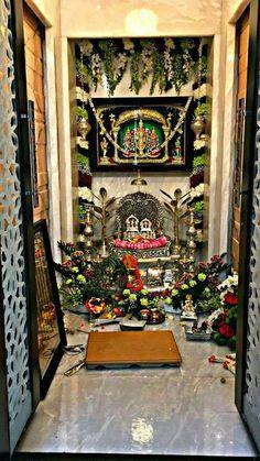 Traditional House Plans, Traditional Decor, Indian Interior Design, Silver Pooja Items, Mandir Design, Picture Arrangements, Diy Diwali Decorations, Pooja Room Door Design, Indian Interiors