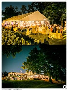 Night time shot of wedding reception area at this Waverly Country Club Wedding.