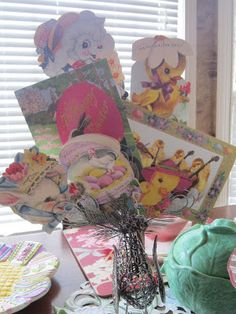 Vintage Easter Cards Display