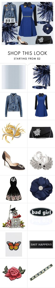 """""""Pins & Patches!"""" by bevmardesigns ❤ liked on Polyvore featuring Leftbank Art, Current/Elliott, WithChic, Manolo Blahnik, Carolee, Natasha Accessories, C&D Visionary, maurices and pins"""