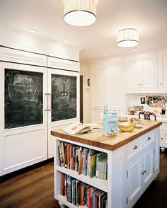 5 Small Changes that Make a Big Difference in the Kitchen- add a touch of chalkboard, paint kitchen cabinetry a fresh color, update kitchen hardware, switch out faucets, switch out barstools