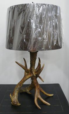 Antler lamp with black shade