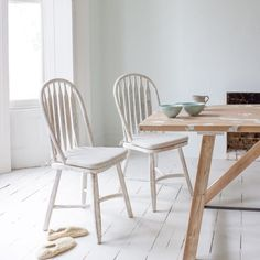 "BOSSY KITCHEN CHAIRS ""Stand back! I've found it. Just leave it exactly as it is!"" said our Charlie when he unearthed this ridiculously comfy chair. The distressed vintage paint finish means that it goes equally well with a natural timber table or painted one. Goes well with our Strappy & Speakeasy kitchen tables. Sold in pairs."
