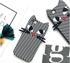Free Shipping iPhone 7 6s SE Korean Sweet Black White Stripe Cat Phone Case for IPhone 6 Plus 7 7 plus Cartoon Soft Silicone Cover Case