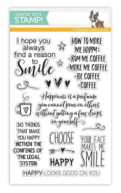 RESERVE Simon Says Clear Stamps CHOOSE HAPPY SSS101617 Reason To Smile zoom image