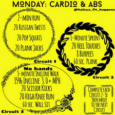 MONDAY: Cardio and Abs. https://instagram.com/haleya_fit_happens/