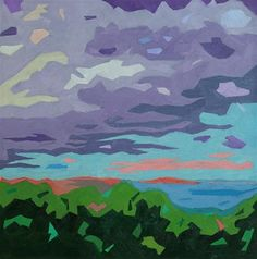 """Daily+Paintworks+-+""""Casco+Bay+Sunset""""+-+Original+Fine+Art+for+Sale+-+©+Mary+Anne+Cary"""