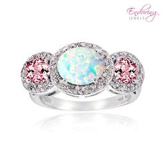 Shop for Glitzy Rocks Sterling Silver White Topaz Pink Tourmaline Created Opal Ring. Get free delivery On EVERYTHING* Overstock - Your Online Jewelry Destination! Opal Rings, Gemstone Rings, Cubic Zirconia Engagement Rings, Silver Engagement Rings, White Topaz Rings, Blue Rings, White Opal, Fashion Jewelry Stores