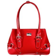 Mine... All Mine (Lipstick Red) || Dimensions: 11.5″L x 3.25″ W x 7.25″ H - Strap Length: 6″ – 8″ - Opening: 6″ - Trim Colors: None - SRP: $119.00 - Available In: Lipstick Red, Chocolate, Marina Blue, Fuchsia, Teal, Ebony