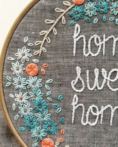 #homesweethome #embroideryhoop #embroidered #daysies #blue #handmade