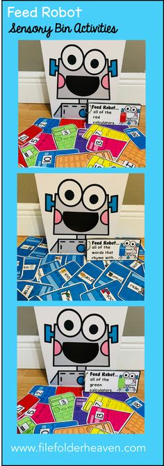 """These Robot Themed Sensory Bin Activities: """"Feed Robot"""" are a GREAT addition to your sensory bins!  There are so many ways to use this Feed Robot Set. I have left it very open ended so that you can target the skills you need to target in a small group setting.  I have also included instruction cards for each set so that you can set the activity up as an independent center, and/or sensory bin activity."""