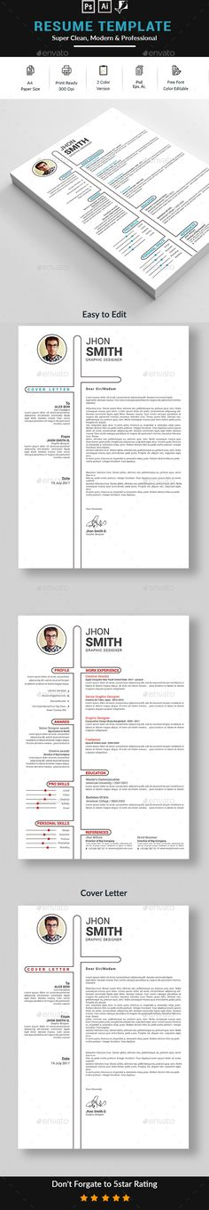 Strong, modern resume template Includes one, two or three page - cover letter elements