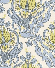 Temple Tulips (50-154) - Amy Butler Wallpapers - A modern Rococo feel that flows in a striking fashion with bold colour combinations.  Shown in the lime green and lilac on white.  Available in other colours – paste the wall. Please request sample for true colour match.