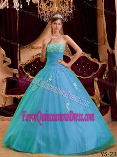 Princess Strapless Floor-length Appliqued Blue Quinceanera Dresses in Tulle