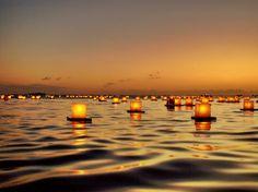 Lantern floating ceremony in Honolulu, Hawii