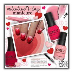 """#701 - Valentine's Day Manicure"" by lilmissmegan ❤ liked on Polyvore featuring beauty, Deborah Lippmann, ORLY, Révérence de Bastien, nailart, Beauty, valentine, valentinesday and nailedit"
