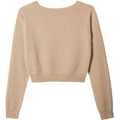 Crop Pullover (990 BRL) ❤ liked on Polyvore featuring tops, sweaters, shirts, jumpers, long sleeve pullover sweater, merino wool shirt, cropped sweater, raglan shirts and long sleeve shirts