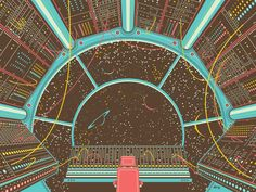 Moog meets spaceship in the retro-futuristic, vector illustration screen print by DKNG. Space is the place! Science Fiction Kunst, Garage Art, Space Images, Arte Popular, To Infinity And Beyond, Retro Futurism, Wildlife Art, Grafik Design, Sci Fi Art