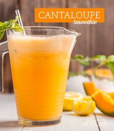 Cantaloupe Smoothie: Fresh melon is a great way to stay hydrated in the summer. Add a serving of Vega Sport Electrolyte Hydrator for extra electrolytes.#VegaSmoothie #BestSmoothie