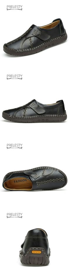 US $27.6<Click to buy> Prelesty Vintage Retro High Quality Natural Leather Buckle Slip On Leisure Cool