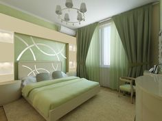 Дизайн спальни - Дизайн интерьеров | Идеи вашего дома | Lodgers Room Design Bedroom, Bedroom Wall Colors, Bedroom Furniture Design, Bedroom Green, Green Rooms, Bedroom Layouts, Living Room Colors, Home Decor Bedroom, Living Room Decor