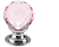 zch03 pink glass faceted cupboard knob polished chrome 25mm or 30mm