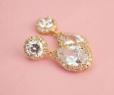 Gold Drop Wedding Earrings