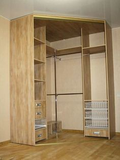 Corner wardrobe photos): wardrobe … – Home decor bedroom … - Babyzimmer Corner Bookshelves, Bookshelf Plans, Bedroom Closet Design, Closet Designs, Corner Closet, Deco Studio, Closet Layout, Bedroom Cupboards, Small Closets