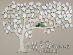 This wedding guest book alternative gives a stylish touch to your wedding and will be something youll always cherish. The guestbook features 2 love birds and little hearts made of wood - your guests may sign these. This sign comes with personalized details: your names and wedding date