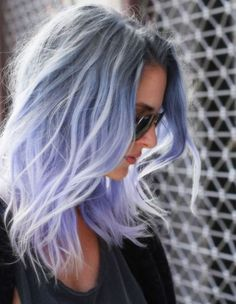 Purple grey hair hair pastel women are dyeing their hair amazing colors for the pastel hair Best Ombre Hair, Ombre Hair Color, Cool Hair Color, Amazing Hair Color, Aveda Hair Color, Purple Grey Hair, Blue Ombre, Periwinkle Hair, Pastel Grey