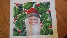 Victorian Santa with Holly Handmade Finished Cross Stitch