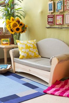 This elegant J650 Child's sofa adds a classy splash to the nursery, and a touch of home to your setting. This solid wood furniture is comfortable for adults too.