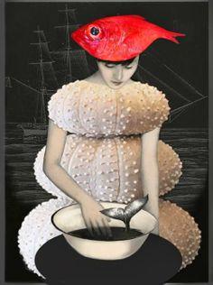 illustration - Daria Petrilli - Un chapeau de poisson - CoDesign Magazine Art Works, Daria, Art Photography, Fish Art, Surrealist, Surreal Art, Digital Illustration, Art, Collage Art
