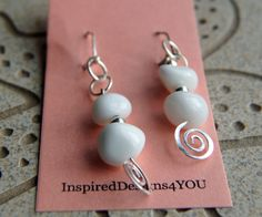 Stunning White Agate Gemstone Nugget Dangle by InspiredDesigns4YOU, $25.00
