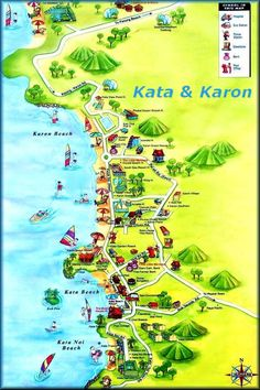 kata beach Phuket Thailand Attractions map Karon Beach And Kata