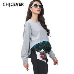 [CHICEVER] Spring Korean Detachable Feather Long Sleeves Oversized Sweatshirts Women Asymmetric Crop Top Streetwear Clothing